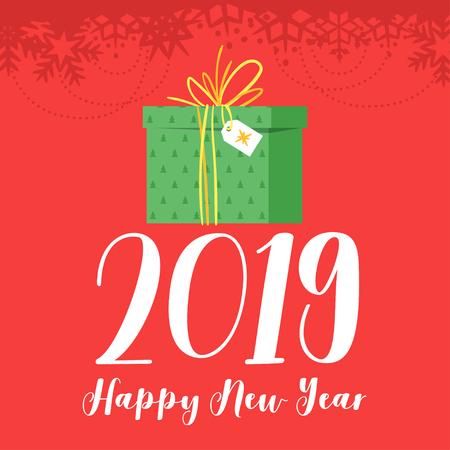 2019 New Year and Christmas greeting card background. Vector cartoon holiday design with green present on red background.
