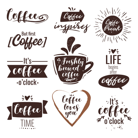 Coffee typography inspirational quote for restaurant wall design. Hand drawn vector illustration. Archivio Fotografico - 127141667