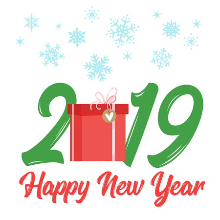 2019 New Year and Christmas greeting card background. Vector cartoon holiday design with present and snowy frame. Archivio Fotografico - 127141668