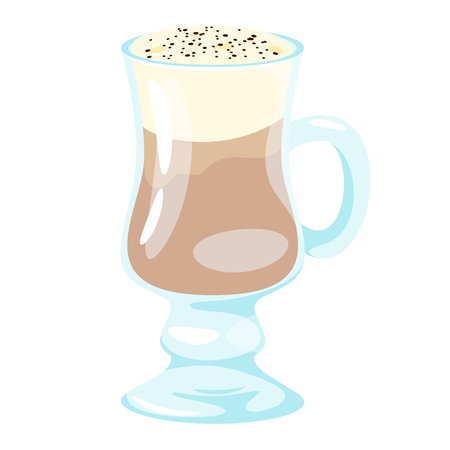 Latte coffee icon for menu design. Vector illustration, isolated on white background. Ilustracja