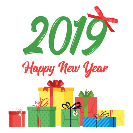 2019 New Year and Christmas greeting card background. Vector cartoon holiday design with present.