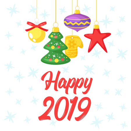 2019 New Year and Christmas greeting card background. Vector cartoon holiday design with hanging Xmas tree toys. Archivio Fotografico - 127141671