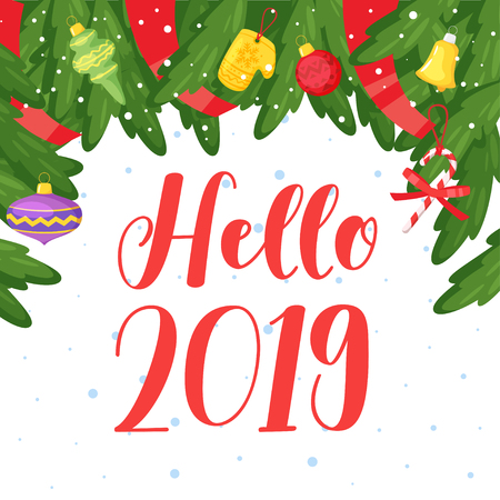 2019 New Year and Christmas greeting card background. Vector cartoon holiday design with pine tree brunches frame and Xmas tree toys. Archivio Fotografico - 127141672