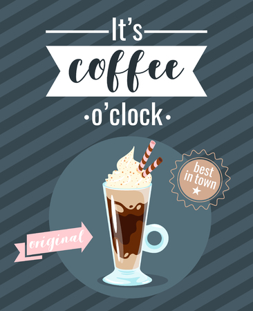Coffee poster template for restaurant wall design. Delicious Glace glass. Print lettering for brochure or cafe menu. Vector illustration with striped background. Archivio Fotografico - 127141673