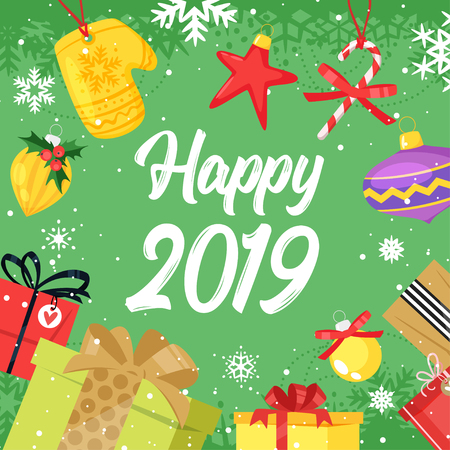 2019 New Year and Christmas greeting card background. Vector cartoon holiday design with presents around as a frame. Archivio Fotografico - 127141674