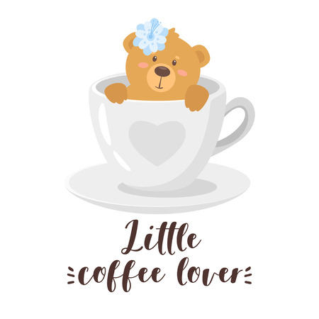 T-shirt design with cute bear in a coffee cup. Isolated on white background. Ilustração