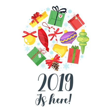2019 New Year and Christmas greeting card background. Vector cartoon holiday design with Xmas tree toys and presents. Round composition.