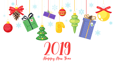 2019 New Year and Christmas banner background. Vector cartoon holiday design with Xmas tree toys and presents handing at the top. Snowflake background. Archivio Fotografico - 127141680