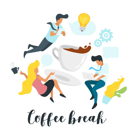 Problem solving concept with business people talk and communicate around big coffee cup. Social networking concept. Minimalism design with people silhouettes and speech bubbles. Idea and gears icon.