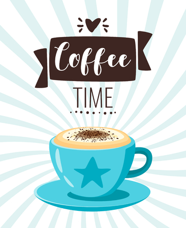 Coffee time poster template for restaurant wall design. Cappuccino cup. Print lettering for brochure or cafe menu. Vector illustration with striped background.