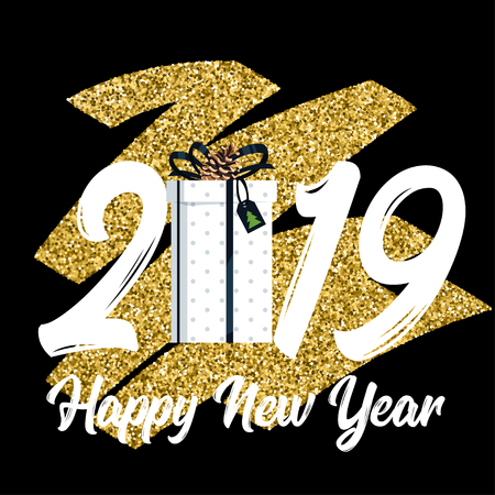 2019 New Year and Christmas greeting card background. Vector holiday design with Xmas present. Black and gold color. Glitter effect at the background. Archivio Fotografico - 127141687