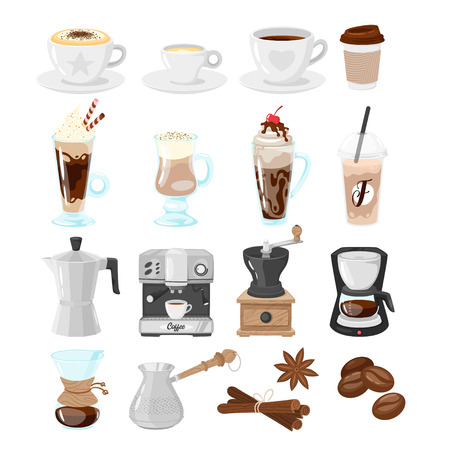 Coffee shop set of icons for menu design. Vector illustration, isolated on white background.