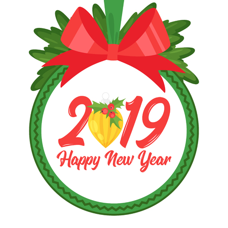 2019 New Year and Christmas greeting card background. Vector cartoon holiday design with Xmas tree toy and red bow. Round composition.