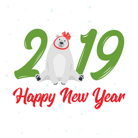 2019 New Year and Christmas greeting card background. Vector cartoon holiday design with polar bear with red bow as a gift.