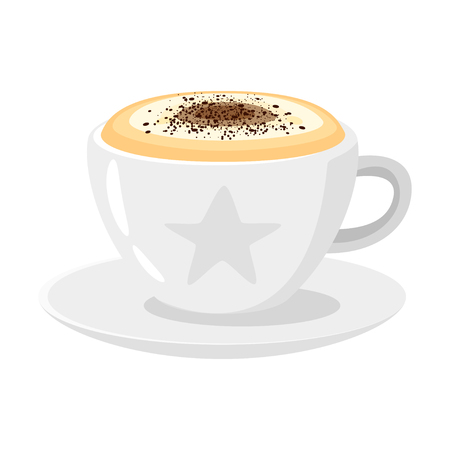 Coffee shop cappuccino cup icon for menu design. Vector illustration, isolated on white background.