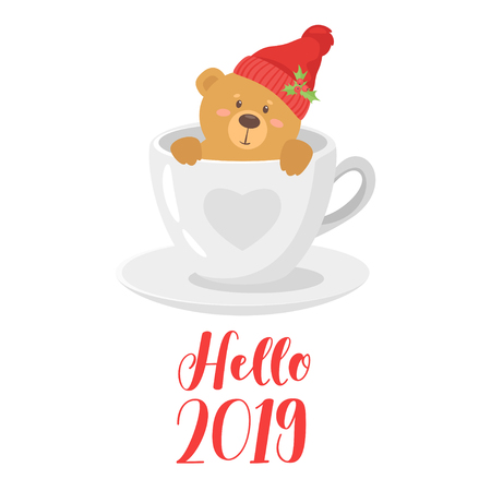 2019 New Year and Christmas greeting card or poster background. Vector cartoon holiday design with cute bear in red hat in a coffee cup. Archivio Fotografico - 127141693