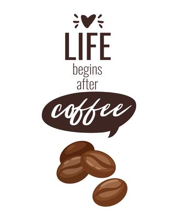 Coffee beans poster template for restaurant wall design. Print lettering for brochure or cafe menu. Vector illustration. Иллюстрация