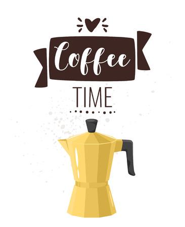 Coffee poster template for restaurant wall design. Golden geyser coffee maker. Print lettering for brochure or cafe menu. Vector illustration.