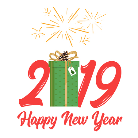 2019 New Year and Christmas greeting card background. Vector cartoon holiday design with present and fireworks at the top. Archivio Fotografico - 127141698