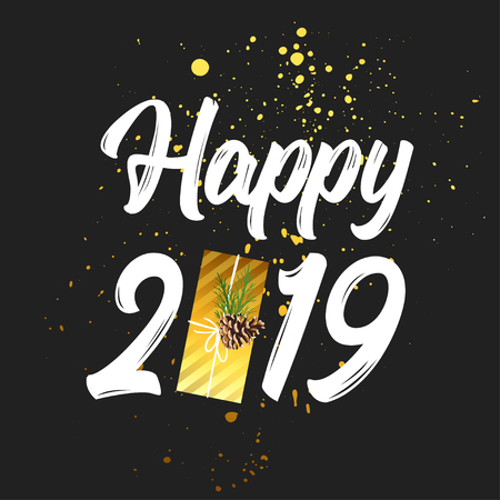 2019 New Year and Christmas greeting card background. Vector holiday design with Xmas present. Black and gold color. Иллюстрация