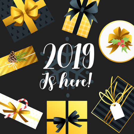 2019 New Year and Christmas greeting card background. Vector holiday design with Xmas present around. Black and gold color. Archivio Fotografico - 127141915