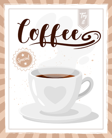 Coffee poster template for restaurant wall design. Americano in white cup with heart. Print lettering for brochure or cafe menu. Vector illustration.