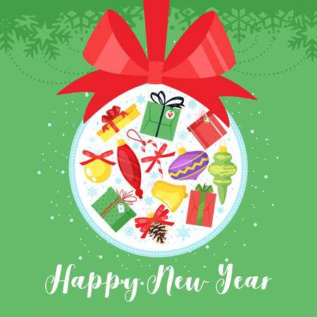 2019 New Year and Christmas greeting card background. Vector cartoon holiday design with Xmas tree decoration full of presents. Green background. Archivio Fotografico - 127116500