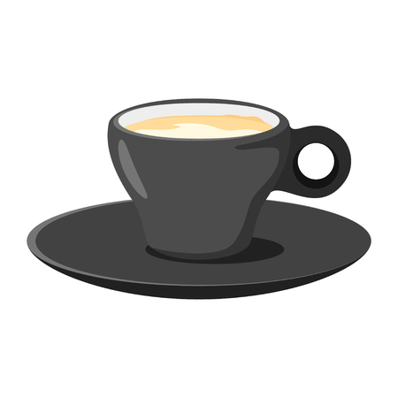 Coffee shop espresso cup icon for menu design. Vector illustration, isolated on white background.