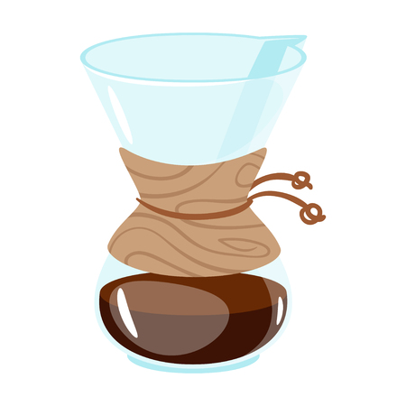 Glass coffee maker icon for menu design. Vector illustration, isolated on white background. Ilustração