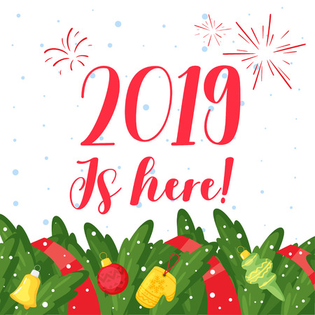2019 New Year and Christmas greeting card background. Vector cartoon holiday design with pine tree brunches frame and Xmas tree toys.