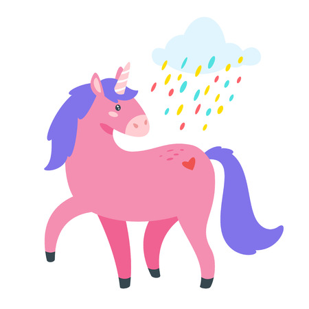 Cute unicorn. Fairytale animal with cloud and colorful rain. Vector illustration, isolated on white background. Design for poster, sticker or t-shirt. Vettoriali