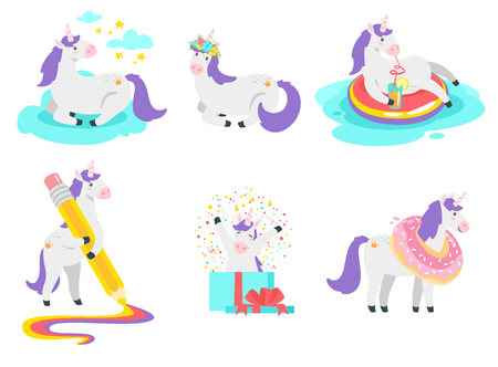 Cute unicorn collection. Cute fairytale animal. Vector illustration, isolated on white background. Design for poster, sticker or t-shirt.