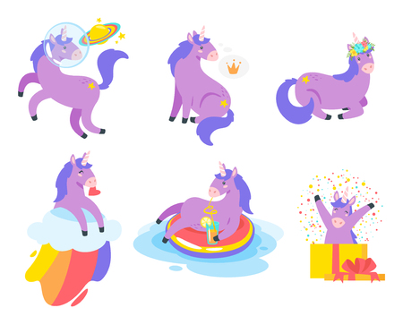 Cute unicorn set. Fairytale violet animal. Vector illustration, isolated on white background. Design for poster, sticker or t-shirt.