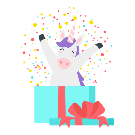Cute unicorn. Fairytale animal jumping from present paper box. Vector illustration, isolated on white background. Design for poster, sticker or t-shirt.