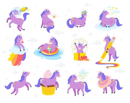 Cute unicorn collection. Fairytale violet animal. Vector illustration, isolated on white background. Design for poster, sticker or t-shirt. Ilustração