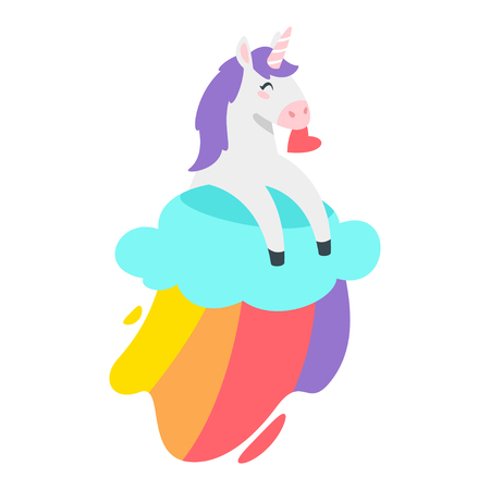 Cute unicorn. Fairytale animal lying on rainbow cloud. Vector illustration, isolated on white background. Design for poster, sticker or t-shirt.