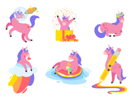 Cute unicorn collection. Fairytale pink animal. Vector illustration, isolated on white background. Design for poster, sticker or t-shirt. Vettoriali