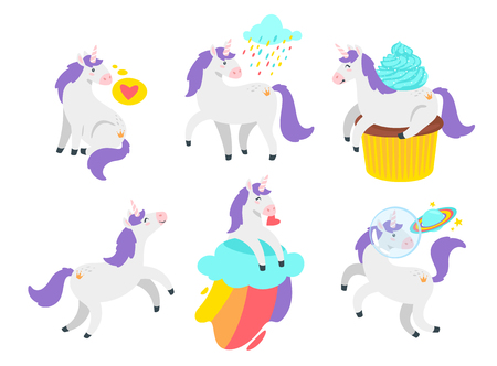 Cute unicorn set. Cute fairytale animal. Vector illustration, isolated on white background. Design for poster, sticker or t-shirt.