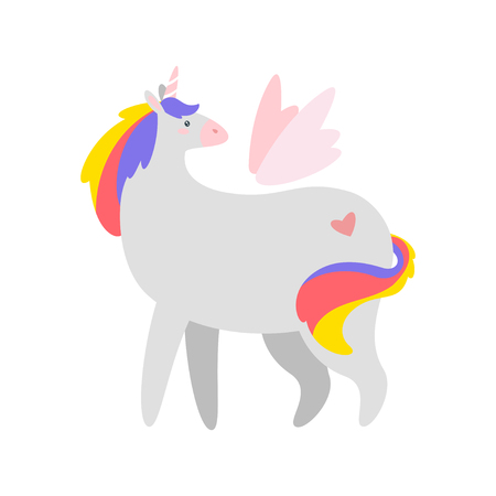 Fat unicorn. Cute fairytale animal with wings standing and looking backwards. Vector illustration, isolated on white background. Design for poster, sticker or t-shirt. Vectores