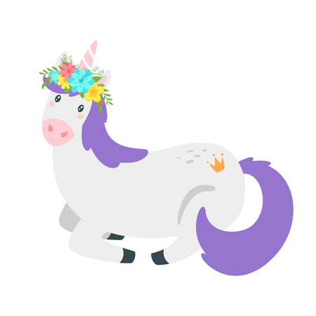Cute unicorn. Fairytale animal with floral wreath lying on the ground. Vector illustration, isolated on white background. Design for poster, sticker or t-shirt. Vettoriali