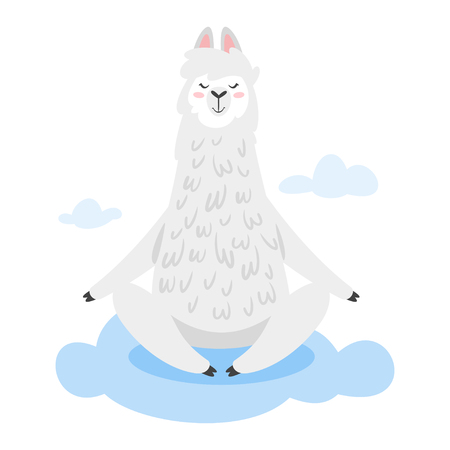 Cute lama. Alpaca animal sitting in yoga pose on the cloud. Vector illustration, isolated on white background. Design for poster, sticker or t-shirt. Vectores