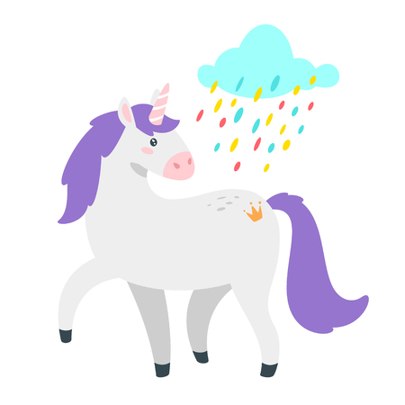 Cute unicorn. Fairytale animal under rainbow rain. Vector illustration, isolated on white background. Design for poster, sticker or t-shirt.
