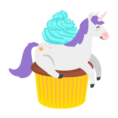 Cute unicorn. Fairytale animal lying on cupcake. Vector illustration, isolated on white background. Design for poster, sticker or t-shirt.