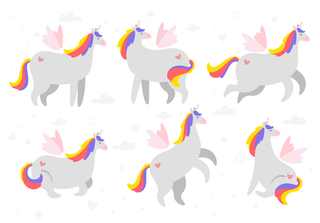 Fat unicorn set. Cute fairytale animal. Vector illustration, isolated on white background. Design for poster, sticker or t-shirt. Archivio Fotografico - 126996513