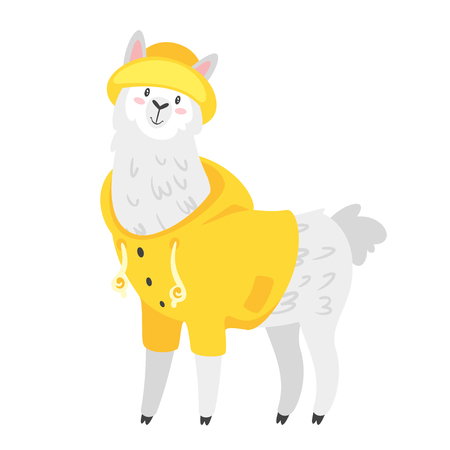 Cute lama. Alpaca animal in yellow rain jacket. Vector illustration, isolated on white background. Design for poster, sticker or t-shirt.