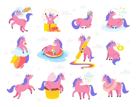 Cute unicorn set. Fairytale pink animal. Vector illustration, isolated on white background. Design for poster, sticker or t-shirt.