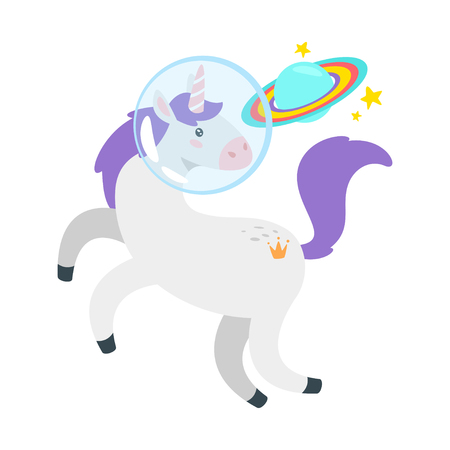 Cute unicorn. Fairytale animal in astronaut helmet looking at the rainbow planet. Vector illustration, isolated on white background. Design for poster, sticker or t-shirt. Archivio Fotografico - 126996519