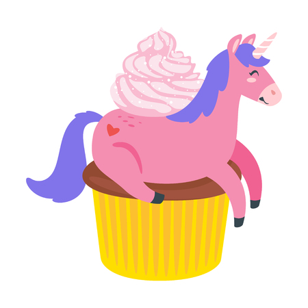Cute unicorn. Fairytale pink animal lying on cupcake. Vector illustration, isolated on white background. Design for poster, sticker or t-shirt.