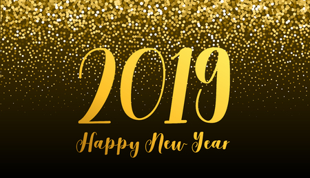 2019 New Year and Christmas banner with golden glitter effect at the background.