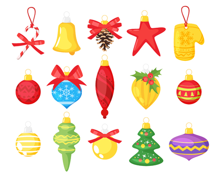 Holiday Christmas tree toys. Cartoon style colorful decorations for New Year design.